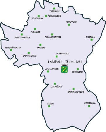 Lampaul-Guimiliau, carte communauté de communes du pays de Landivisiau